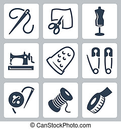 仕立屋, ベクトル, セット, 裁縫, アイコン
