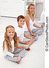 他们, 孩子, 瑜伽, 松弛, 妈妈