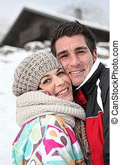 他們, 夫婦, 享用, 逃走, 阿爾卑斯山