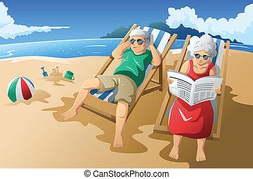 他們, 年長者, 享用, 夫婦, 退休