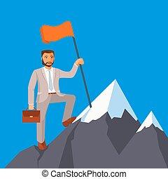 他的, 事務, 成功,  attains, 目標, 到達, 商人, 成就