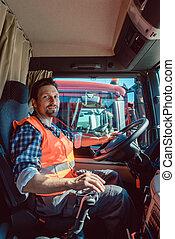 他的, 坐, 駕駛員, 卡車, 卡車, 車輛, 或者, 船艙