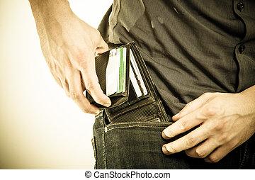 他的, 皮夾子, 支付, 拿, pocket., theft., 人, 在外, closeup.