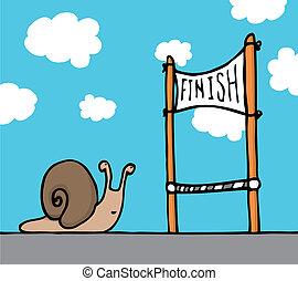 他的, 目标, 蜗牛, 到达