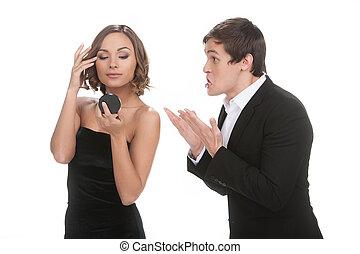 他的, 着重强调, 年轻, formalwear, up!, 看, 当时, 她, 人, 镜子, 女朋友, 匆忙, 姿态...