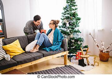 他的, 給, 女朋友, 聖誕節禮物, 人