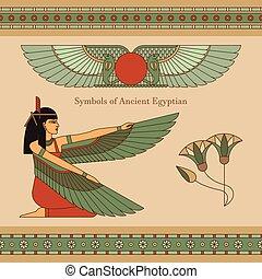他, エジプト, シンボル, イラスト, 翼, 女, 古代, ロータス