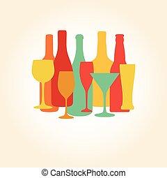 他, シャンペン, アルコール, ガラス, pattern., ビール, ワインのビン, 飲み物, design.