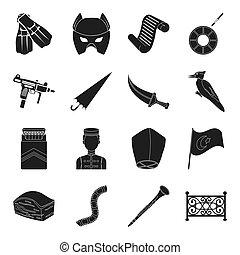 他, スポーツ, 黒, 天候, 劇場, アイコン, 武器, 網, セット, collection., style., 活版印刷, 食物アイコン