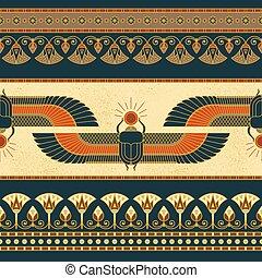 他, ロータス, エジプト, シンボル, 横, イラスト, 翼, seamless, 女, 古代, パターン
