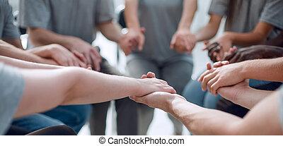 他, 人々, 手, 保有物, 。, 終わり, グループ, それぞれ