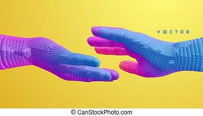 他。, 人間, それぞれ, 関係, 3d, ∥あるいは∥, ベクトル, ∥に向かって∥, 手を伸ばす, 概念, 一緒, 接続, 手, structure., illustration., partnership.