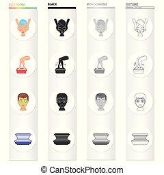 他, 衛生, 美容術, tan, アイコン, 漫画, サンルーム, 網, セット, collection., 薬, style., 資金, アイコン