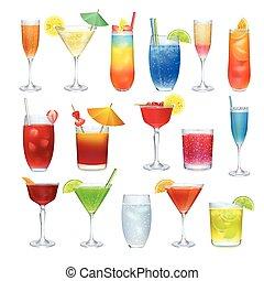 他, coctails, セット, アルコール, 飲み物