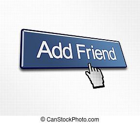 付け加えなさい, clicked, ボタン, 友人
