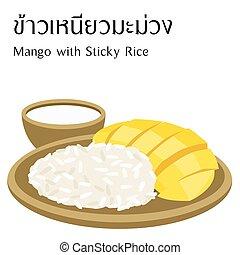 付せん, 食物, アルファベット, マンゴー, 意味, ベクトル, 背景, タイ人, 米, 白