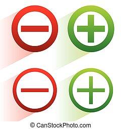 付加, アイコン, 対角線, シンボル, 減法, プラス, 影, マイナス, signs.