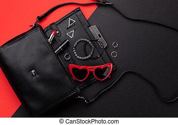 付属品, ダブル, 袋, 位置, 背景, 光景, 黒, 平ら, 赤, 開いているトップ