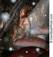 仙女, 上, a, 蘑菇