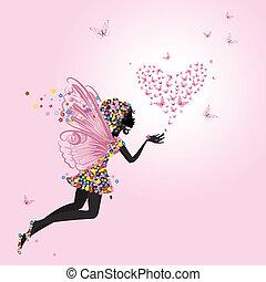 仙女, 带, a, valentine, 在中, 蝴蝶