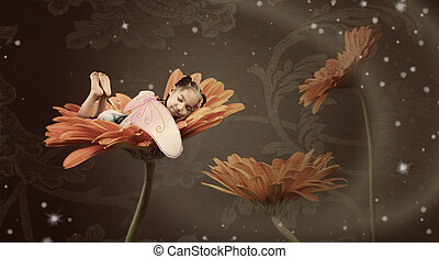 仙女, 睡覺, 在, a, 花