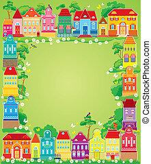 仙女, 色彩丰富, houses., 装饰, 卡片, 新, 假日, 圣诞节, 框架, 年, town., 小