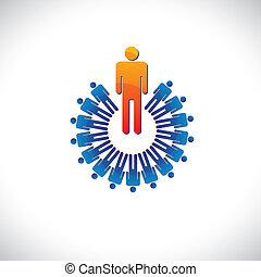 代表, 图表, 像一样, 色彩丰富, 同时, 摘要, 描述, 雇主, 等等, 经理, followers., 雇员, 概念, 领导者, 工人