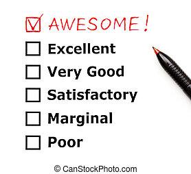 令人敬畏, 顧客, 評估, 形式
