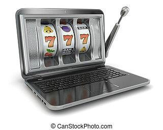 以联机方式, 赌博, concept., 笔记本电脑, 狭缝机器