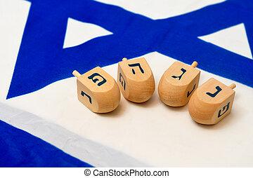 以色列旗, 由于, 木制, dreidels