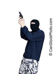 仮面をかぶった男, 目標, ∥で∥, 銃
