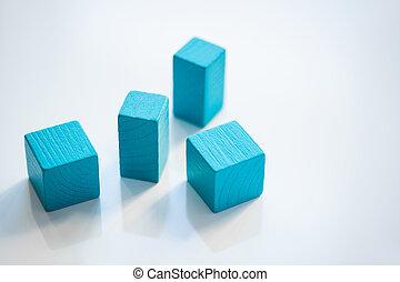 任意である, 順序, 木製である, レンガ, 平ら, グループ, 地位, 青, 立方体