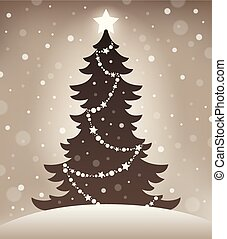 仿效某派风格, 侧面影象, 在中, 圣诞树, 1
