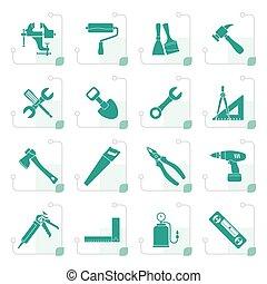 仿效某派风格, 建筑物, 同时,, 建设工作, 工具, 图标
