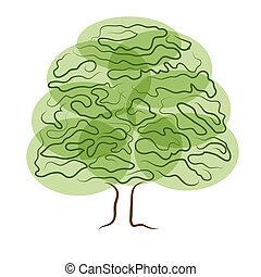 仿效某派风格, 树, 侧面影象, 隔离, 在怀特上, 背景