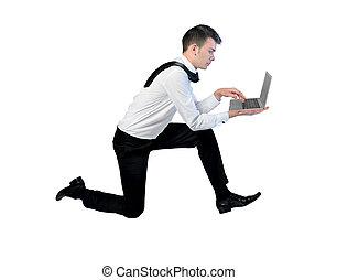 企业家, 带, 笔记本电脑