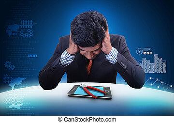 企业家, 带, 聪明, 电话, 修理, 服务, 概念