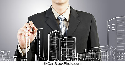 企业家, 拖拉, 建筑物, 同时,, cityscape