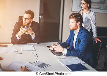 企業のマネージャー, ミーティング, ビジネス チーム