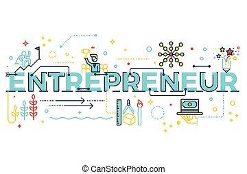 企業家, 単語, レタリング