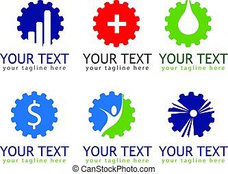 企業, ロゴ, セット, サイン