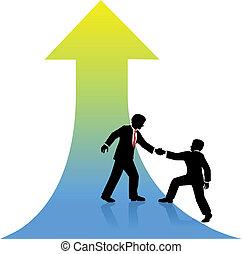 企業 人, 幫助, 合伙人, 向上, 到, 成功