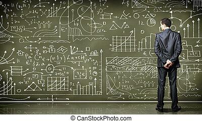 企業 人, 針對, the, 黑板