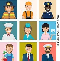 企業, 肖像画, 別, セット, 労働者