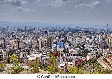 伊朗, 德黑蘭, 提高, 城市地平線, 從, 觀察甲板, 在, 山。