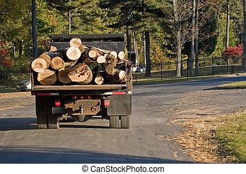 伐採トラック