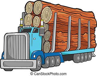 伐採, ベクトル, トラック, イラスト
