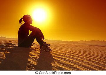 休む, スポーツウーマン, 上, 砂 砂丘
