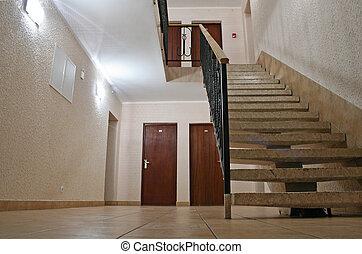 休む, ホテル, 場所, 階段