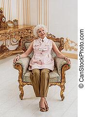 休む, 年長の 女性, 椅子, 豊富